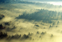 Aerial view of Morning fog and sunrise in autumn near Stowe, VT on Scenic Route 100 Stock Images