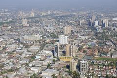 Aerial view of the Santiago city with the blue smog from the San Cristobal Hill, Santiago, Chile Stock Image