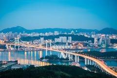 Aerial view of xiamen haicang bridge in nightfall Royalty Free Stock Images