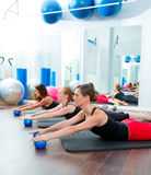 Aerobics pilates women with toning balls in a row Royalty Free Stock Photography