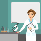 Affable chemist woman in the laboratory Royalty Free Stock Photography