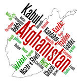 Afghanistan map and cities Royalty Free Stock Photos