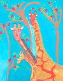 African art child giraffes painting Stock Images