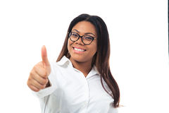 African businesswoman showing thumb up Stock Images