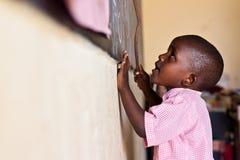 african Child at  blackboard Stock Photo