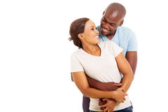 African couple embracing Stock Photo