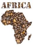 Afrika-Wort und geographisches geformtes mit Kaffeebohnehintergrund Lizenzfreies Stockbild
