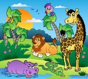 Afrikaans landschap met dieren 1 Stock Afbeeldingen