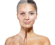 Aging and Skincare Concept. Face skin Stock Photos