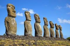 Ahu Akivi Moai, Rapa Nui, Pasen-Eiland, Chili Royalty-vrije Stock Fotografie