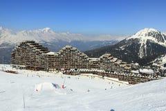 Aima 2000, Winter landscape in the ski resort of La Plagne, France Royalty Free Stock Images