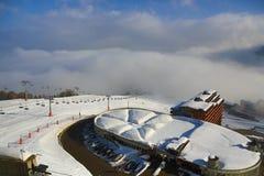Aime 200, winter landscape in the ski resort of La Plagne, France Stock Image