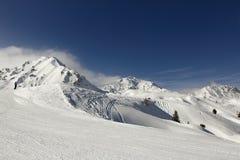 Aime 200, winter landscape in the ski resort of La Plagne, France Stock Images