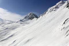 Aime 200, winter landscape in the ski resort of La Plagne, France Stock Photo