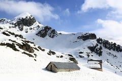 Aime 200, winter landscape in the ski resort of La Plagne, France Royalty Free Stock Images