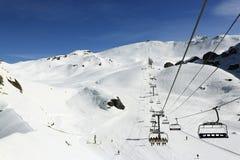 Aime 200, winter landscape in the ski resort of La Plagne, France Royalty Free Stock Photos