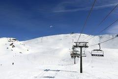 Aime 200, winter landscape in the ski resort of La Plagne, France Royalty Free Stock Image