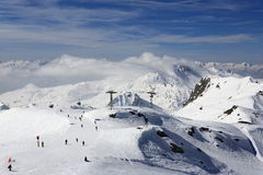 Aime 200, winter landscape in the ski resort of La Plagne, France Royalty Free Stock Photography