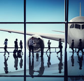 Airplane Aircraft Airport Business Travel Flight Transport Conce Royalty Free Stock Photos