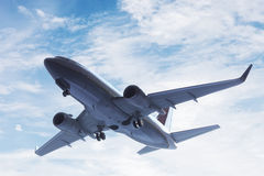 Airplane taking off. A big passenger or cargo aircraft, airline flying. Transportation Stock Photos
