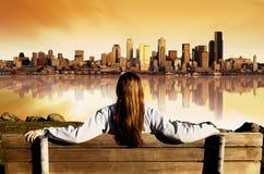 Alba di vista della città Fotografie Stock