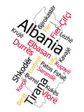 Albania map and cities Stock Photos