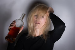 Alcoholic Woman Royalty Free Stock Photos