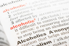 Alcoholic Word Definition Royalty Free Stock Image