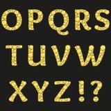 Alfabeto do vetor com letras amarelas dos diamantes Projeto brilhante luxuoso com os cristais dourados brilhantes e do diamante Imagens de Stock