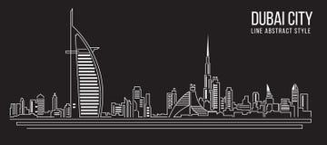 Alignement de paysage urbain conception d'illustration de vecteur d'art (ville de Dubaï) Photos stock