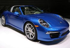 All new Porsche super car at the auto show Royalty Free Stock Photography