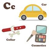 Alphabet C letter.Car,Collar,Cosmetics Royalty Free Stock Photo