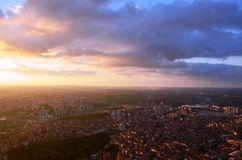 At an altitude of 280 mt in Istanbul sunset, sapphire was at the mall looking at photos Stock Photography