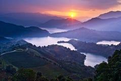 Amazing sunset with amazing mountains Royalty Free Stock Photography