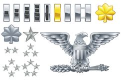 American army officer ranks insignia icons Stock Images