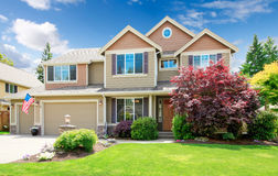 American beige luxury large house front exterior. Royalty Free Stock Photos