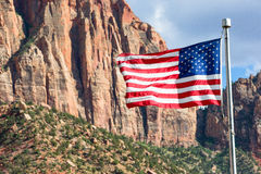 American Flag flying in Zion Park Royalty Free Stock Images