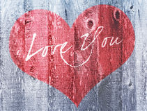 Amor vermelho do feriado do dia de Valentim do coração você madeira afligida cumprimento do coração Foto de Stock Royalty Free