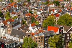 Amsterdam city view from Westerkerk, Holland, Netherlands. Royalty Free Stock Images