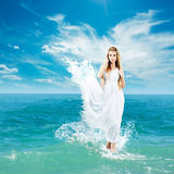 Ancient Greek Goddess in Sea Waves Stock Images