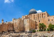 Ancient walls and Al Aqsa Mosque dome in Jerusalem, Israel. Stock Image