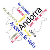 Andorra map and cities Royalty Free Stock Photography
