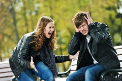 Anger in young people relationship conflict Stock Photos