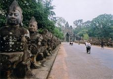 Angkor wat temple gate camobodia Royalty Free Stock Image