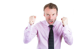 Angry, screaming businessman, boss, executive, worker, employee going through a conflict in his life Royalty Free Stock Photo