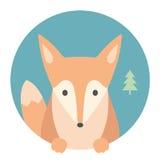 Animal set. Portrait in flat graphics. Fox Stock Image