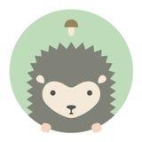 Animal set. Portrait in flat graphics. Hedgehog Royalty Free Stock Image