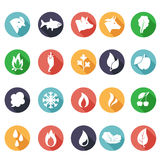 Animals, leaves, fire, frost, steam, water icons. Flat style Royalty Free Stock Photos