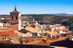 Ansicht von Chinchilla de Monte-Aragonien vom Hügel Stockbilder