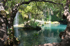 Antalya Kursunlu waterfall wonder of nature, a cool place in the hot summer getaway Royalty Free Stock Photo
